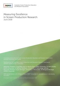 cover image of Research excellence in/for screen production report